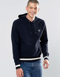 Fred Perry Hoodie With Contrast Hem In Navy Navy