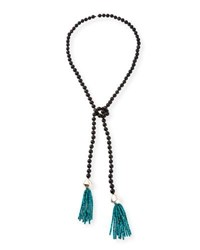 Nest Black Horn And Turquoise Beaded Lariat Necklace