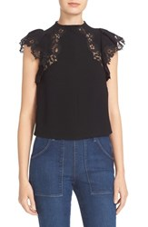 Rebecca Taylor Women's Cap Sleeve Lace Trim Crepe Top