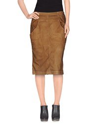 Manila Grace Denim Skirts Knee Length Skirts Women Brown