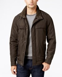 Perry Ellis Big And Tall Oxford Zip Front Jacket Olive