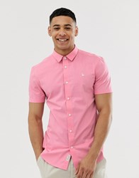 Jack Wills Tencreek Skinny Fit Short Sleeve Poplin Shirt In Pink