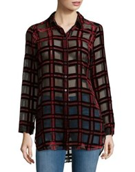 Lord And Taylor Burnout Button Down Shirt Red