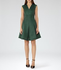 Reiss Riviera Womens Textured Scuba Fit And Flare Dress In Green