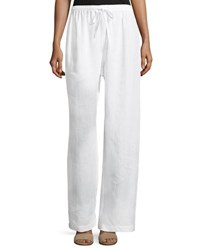 Eskandar Drawstring Linen Trousers White