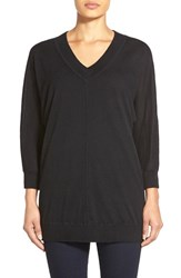 Women's Nordstrom Collection Dolman Sleeve V Neck Cashmere Sweater Black