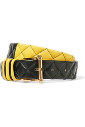 Balmain Two Tone Quilted Leather Belt Yellow