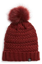 Treasure And Bond Cable Knit Beanie With Faux Fur Pom Red Red Chili