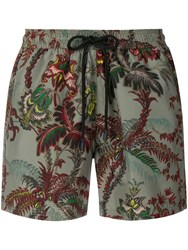 Etro Floral Print Swimming Shorts Green