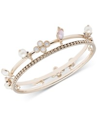Marchesa Gold Tone Imitation Pearl And Stone Charm Two Row Bangle Bracelet