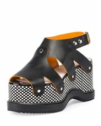 Proenza Schouler Checkerboard Platform Leather Sandal Black