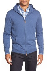 Nordstrom Full Zip Cotton And Cashmere Hoodie Blue
