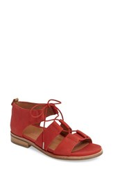 Gentle Souls Women's Fina Lace Up Sandal Red Nubuck Leather