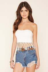 Forever 21 Strapless Tasseled Crop Top