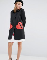 Love Moschino Jacquard Jacket With Heart Pockets Black