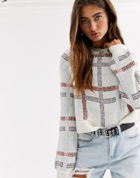 Noisy May Check Cropped Knitted Jumper Multi
