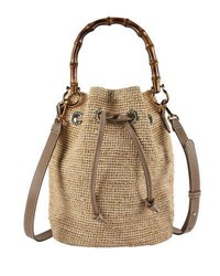 Heidi Klein Savannah Bay Raffia Bamboo Mini Bucket Bag Neutral