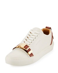 Buscemi Men's 50Mm Low Top Sneaker With Croc Embossed Leather Details Off White Peanut Off White Penut