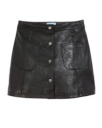 Mayoral Button Front Faux Leather A Line Skirt Black