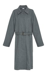 Tomas Maier Wool Belted Trench Grey