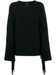 Class Roberto Cavalli Relaxed Fit Fringed Jumper Black