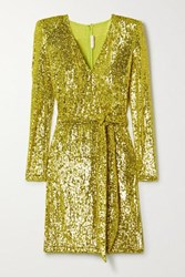 Naeem Khan Belted Sequined Stretch Tulle Mini Dress Chartreuse