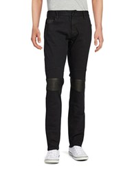 Rogue State Faux Leather Trimmed Jeans Black