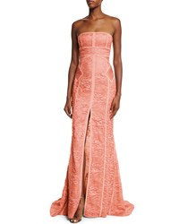 J. Mendel Strapless Tonal Piping Lace Gown Coral Women's