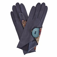 Gizelle Renee Padma Navy Leather Gloves With Bm Liberty Tana Lawn Blue
