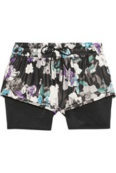 Adidas By Stella Mccartney Layered Floral Print Shell And Mesh Shorts Black