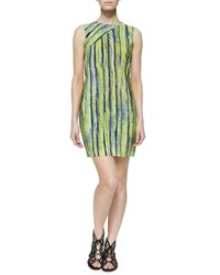 Andrew Marc New York Sleeveless Citron Striped Dress