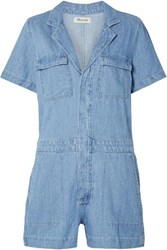 Madewell Cotton And Linen Blend Playsuit Mid Denim
