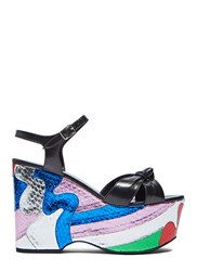 Saint Laurent Candy Wedge Metallic Sandals Black