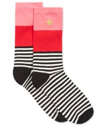 Kate Spade New York Women's Colorblock Striped Crew Socks Costume Pink