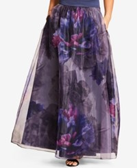 City Chic Trendy Plus Size Floral Print Maxi Skirt Navy