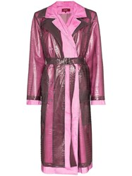 Sies Marjan Double Layered Croc Effect Trench Purple