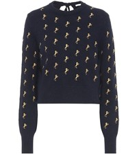 Chloe Embroidered Wool Sweater Blue