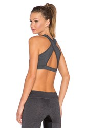 Solow Open Embroidered Sports Bra Charcoal