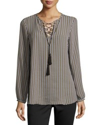 Michael Michael Kors Lace Up Long Sleeve Peasant Blouse Neutral Pattern
