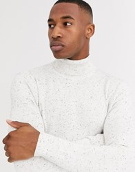 Jack And Jones Premium Fleck Roll Neck Knitted Jumper In Off White