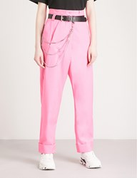 Alyx Chain Embellished Relaxed Fit Straight Virgin Wool Trousers Pink