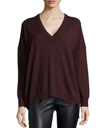 Michael Kors Long Sleeve V Neck Tunic Bordeaux