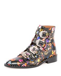 Givenchy Floral Elegant Flat Ankle Boot Multi