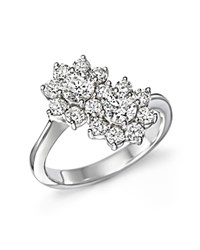 Bloomingdale's Diamond Flower Two Stone Wrap Ring In 14K White Gold 1.50 Ct. T.W.