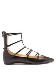 Christian Louboutin Toerless Leather Point Toe Flats Black