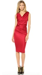 Dsquared Asymmetrical Shoulder Cross Front Dress Red