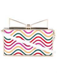 Sara Battaglia Lady Waves Clutch Women Leather Bos Taurus One Size White