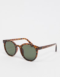 New Look Plastic Round Sunglasses In Brown