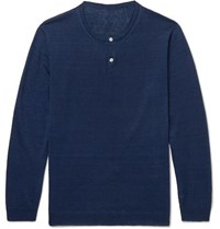 Anderson And Sheppard Linen Henley Sweater Navy