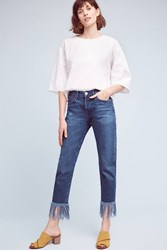 Anthropologie 3X1 Nyc High Rise Straight Cropped Fringe Jeans Denim Medium Blue